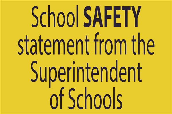 Superintendent of Schools' Statement on School Shooting/Safety
